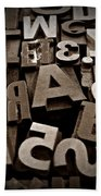 Letters And Numbers Sepia 2 Beach Towel