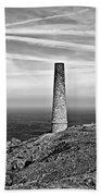 Levant To Pendeen View Black And White Beach Towel