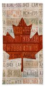 License Plate Art Flag Of Canada Beach Towel