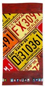 License Plate Map Of Arkansas By Design Turnpike Beach Towel by Design Turnpike