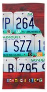 License Plate Map Of Missouri - Show Me State - By Design Turnpike Beach Towel by Design Turnpike