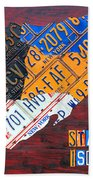 License Plate Map Of Staten Island New York Nyc Beach Towel