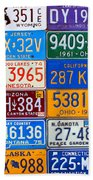 License Plates Of The Usa - Our Colorful American History Beach Towel