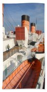 Life Boats 01 Queen Mary Ocean Liner Port Long Beach Ca Beach Towel