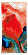 Life Force - Red Abstract By Sharon Cummings Beach Towel by Sharon Cummings