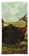 Life On The Prairie Beach Towel by Currier and Ives