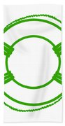 Life Preserver In Green And White Beach Towel