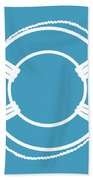 Life Preserver In White And Turquoise Blue Beach Towel