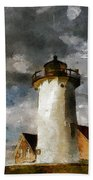 Light House In A Storm Beach Towel