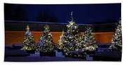 Lighted Trees With Snow Beach Towel