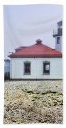 Lighthouse At Alki Beach Beach Towel
