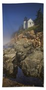Lighthouse At Bass Harbor Maine Beach Towel