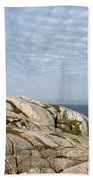 Lighthouse At Peggys Point Nova Scotia Beach Towel