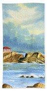 Lighthouse At Portland Head Maine Beach Towel