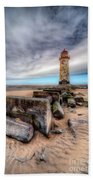 Lighthouse At Talacre  Beach Towel by Adrian Evans