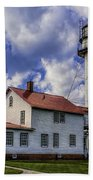 Lighthouse At Whitefish Point Beach Towel