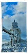 Lighthouse In Saint Joseph Michigan Beach Towel