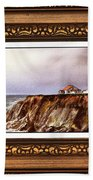 Lighthouse In Vintage Frame Beach Towel