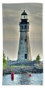 Lighthouse Just Before Sunset At Erie Basin Marina Beach Towel