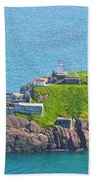 Lighthouse On Point In Signal Hill National Historic Site In Saint John's-nl Beach Towel