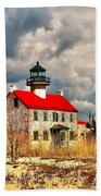 Lighthouse On The Delaware Beach Towel