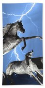 Lightning At Horse World Bw Color Print Beach Sheet