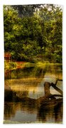 Lightning Strike By The Nature Center Merged Image Beach Towel