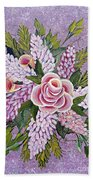 Lilac And Rose Bouquet Beach Sheet