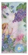 Lilac Enchanting Flower Fairy Beach Towel