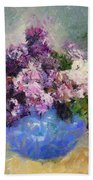 Lilac In Blue Vase Beach Towel
