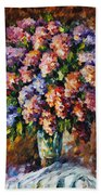 Lilac - Palette Knife Oil Painting On Canvas By Leonid Afremov Beach Towel