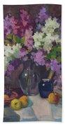 Lilacs And Blue Vase Beach Towel