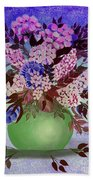 Lilacs And Queen Anne's Lace In Pink And Purple Beach Towel