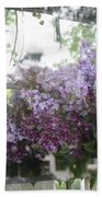 Lilacs Hanging Basket Window Reflection - Dreamy Lilacs Floral Art Beach Towel