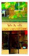 Lili And Oli Latte Espresso Cappucino Coffee Shop Rue Notre Dame St Henri City Scene Carole Spandau Beach Towel