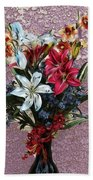 Lilies And Orchids Digitized Purple Beach Towel