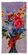 Lilies And Orchids Topaz II Beach Towel