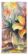 Lilies In A Vase Beach Towel