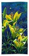 Lilies Beach Towel by Zaira Dzhaubaeva