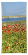 Lillies By The Lake Beach Towel
