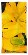 Lillies In Yellow Beach Towel