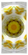 Lily And Daffodil Kaleidoscope Under Glass Beach Towel