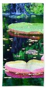 Lily Leaves Painterly  Beach Towel