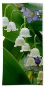 Lily Of The Valley Green Beach Towel