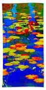 Lily Pads And Koi  Pond Waterlilies Summer Gardens Beautiful Blue Waters Quebec Art Carole Spandau  Beach Towel