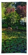 Lily Pond And Colorful Gardens Beach Sheet