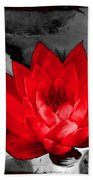Lily Red And Koi Beach Towel