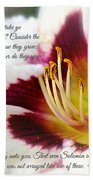 Lily With Scripture Beach Towel
