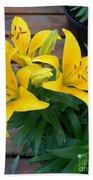 Lily Yellow Flower Beach Towel