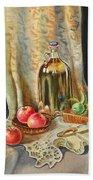 Lime And Apples Still Life Beach Towel by Irina Sztukowski